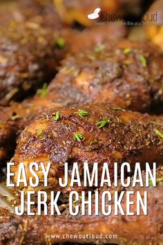 Easy Jamaican Jerk Chicken by Chew Out Loud This easy recipe is a deliciously simple version of Caribbean style roast chicken This super tender flavorful jerk chicken will quickly become a dinner favorite Pin made by Chicken Jamaican Easy Jerk Chicken Recipe, Grilled Jerk Chicken, Jerk Recipe, Jerk Chicken Wings, Chicken Wing Recipes, Roast Chicken, Jerk Chicken Marinade, Jamaican Dishes, Jamaican Recipes
