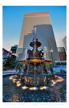 View On White Posted a B &W version of this photo and not sure which I like better so here's the color one too.  Really cool statue in the heart of downtown Cincinnati.  Fountain Square is a public space where people, hang out.  The centerpiece of the Square is the historic Tyler Davidson Fountain, dedicated to the people of Cincinnati in 1871.