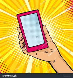 Pop art background with female hand holding a smartphone with empty screen for your offer . Vector colorful hand drawn illustration in retro comic style. - Comprar este vetor do stock e explorar vetores semelhantes no Adobe Stock Pop Art Face, Desenho Pop Art, Pop Art Background, Hand Holding, Pop Art Illustration, Retro Pop, Comic Styles, Simple Art, Comic Art
