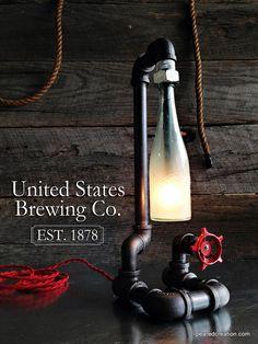 Tubería Industrial Vintage lámpara grifo por newwineoldbottles