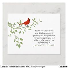 Cardinal Funeral Thank You Note Card Red Bird - Gift Idea
