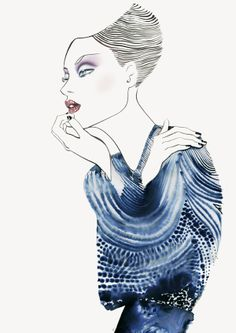 #MargotMace #illustration #woman #woodblockillustration #fashionillustration #trafficnyc #blue #watercolor