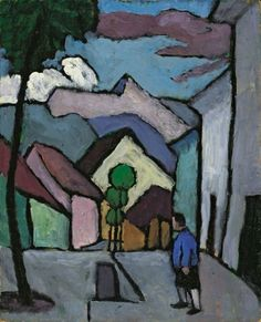 Gabriele Münter (German, 1877-1962), Hauptstrasse (mit Mann) [Main street (with man)], 1934. Oil on cardboard, 40.8 x 33 cm.