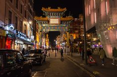 the entrance to Chinatown in London at night
