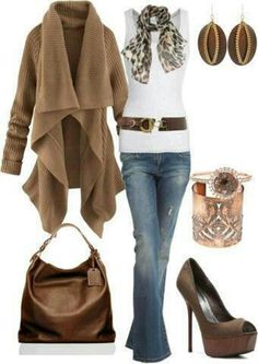 Casual Smart Winter Jeans Brown