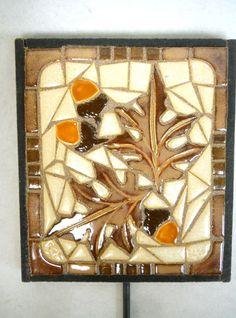 Oak Leaf and Acorns Mosaic Art Handmade by HouseofWhisperingFir