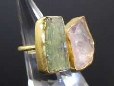 Made with rose quartz and green kyanite gemstones and gold-over-sterling silver (vermeil). Size 6.25