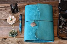 Turquoise Traveler's Notebook from The Leather Quill Shoppe
