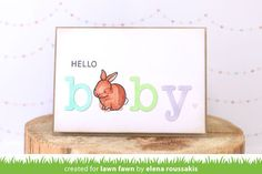 Lawn Fawn - Hello Baby, Louie's ABCs,   _ baby card by Elena for Lawn Fawn Design Team