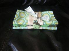 Retro green burp cloth by EandLuLu on Etsy,