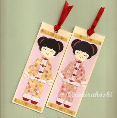 CHINESE ORIGAMI GIRL Paper Doll Handmade Bookmarks Tags (set of 2). $9.00, via Etsy.
