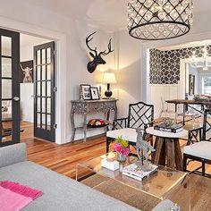 Gray French Doors, Eclectic, living room, Benjamin Moore Graphite, Avenue B