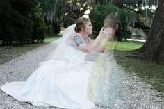 "This wedding photo of a bride, Amanda, embracing a young transparent girl, has recently gone viral after she posted it to her Facebook page. The photo's caption revealed that the girl behind the shadow was in fact the bride's daughter, Azalee, who passed away in 2013.  Ashley Frantz, the bride's wedding photographer, explained the meaning behind the photo on her Facebook page. She said, ""Finally get to share one of the most beautiful and difficult pictures I've ever been asked to do. This…"