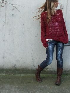 Love this unstructured sweater and the color of it. Like the boots with it too...