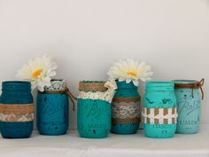 Teal Ombre Painted Mason Jars Set of 6 -Burlap and Lace Mason Jars Distressed Flower Vases, Rustic Wedding Centerpieces, Shabby Chic