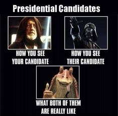 The force is strong with these memes. Including Obama and Trump, Star Wars memes offer a funny take on the controversial world of politics. Star Wars Meme, Star Wars Quotes, Star Trek, Memes Humor, Funny Memes, Funny Quotes, Funny Political Memes, Politics Humor, Political Science