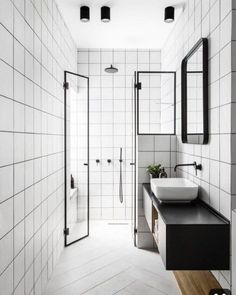 Selecting a darker color for your grout can make all the difference in a bathroo. - Home Design Modern Bathroom Tile, White Bathroom, Bathroom Interior, Small Bathroom, Bathroom Closet, Bathroom Remodelling, Glass Bathroom, Bathroom Sets, Studio Interior