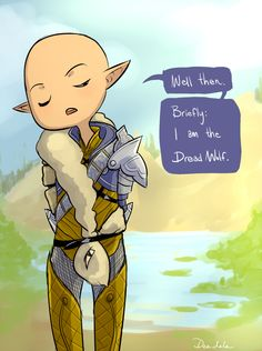 """deedylovescake.tumblr: """"Solas.. have I ever wanted to hear one of your endless explanations? Ever."""" I love zero-fucks-left-to-give Solas :)"""