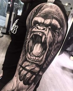 Tattoo Shoulder Back Awesome 20 Best Ideas tattoo Tattoo Shoulder Back Awesome 20 Best Ideas Leg Tattoos, Body Art Tattoos, Girl Tattoos, Sleeve Tattoos, Tattos, Gorilla Tattoo, Chest Tattoo, Back Tattoo, Animal Tattoos For Men