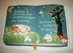 Baby book with a prayer to guardian angel - christening cake Cupcake Cakes, Cupcake Ideas, Cup Cakes, Beautiful Cakes, Amazing Cakes, Baby Shower Cakes, Baby Cakes, Confirmation Cakes, Baby Blessing