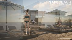 the SafeBeach design by umberto menasci combines partitioned areas for sunbathing with stringent social distancing measures. Large Umbrella, The New Normal, Design Competitions, Summer Beach, Sun Lounger, Proposal, Boxes, Uni, Decor