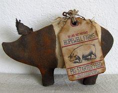 Cave Creek Primitive Pig, Hampshire Pig, Black and Tan Pig, Pig Bowl Filler, Hog, Primitive Hog, Swine on Etsy, $10.00