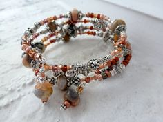 Memory Wire Bracelet, Smooth Brown Rondelles, Copper Czech Glass Beads, Silver Bead Caps and Spacers, Easy On, Mothers Day, Beadwork. $35.00, via Etsy.