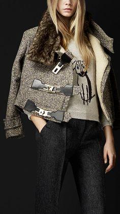 Burberry Prorsum Lock Front Tweed Jacket
