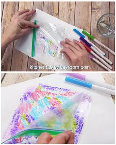 Abstract Watercolor Painting-Easy Abstract Art for KIds – The Kitchen Table Classroom Use washable markers and a recycled plastic bag for this simple abstract watercolor painting process for kids. Marker Kunst, Marker Art, Abstract Art For Kids, Painting For Kids, Bubble Painting, Finger Painting, Kids Crafts, Arts And Crafts, Kids Diy