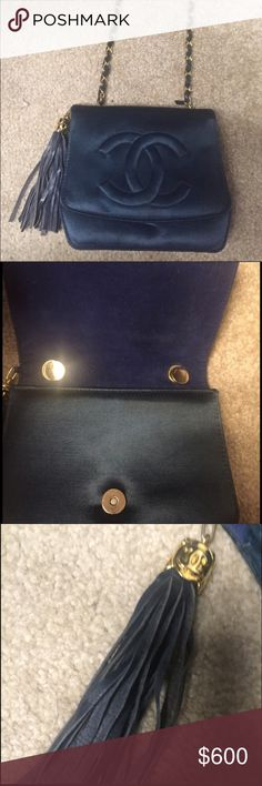 Navy Chanel Silk Satin Quilt Shoulder Bag This Is an authentic vintage 1960 or 1970's Chanel Diamond Quilt Mini shoulder bag in Navy silk satin. It is a family hierloom. It has also been kept in a dust cover. The hardware is very heavy and has been kept in tact. This can be worn as a lovely evening purse. CHANEL Bags Shoulder Bags