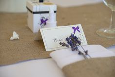 Plain Hessian Table Runner and Napkin Cuff decorated with Lavender. Photo supplied by Chris Snowden from Time Photographic Hessian Table Runner, Table Runners, Photo Supplies, Wedding Bunting, Napkin, Lavender, Gift Wrapping, Decorations, Bride