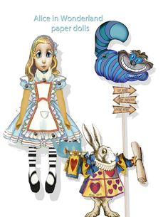 printable Paper dolls craft kit, Alice in wonderland, white rabbit and Cheshire cat articulated, collage sheet craft supply