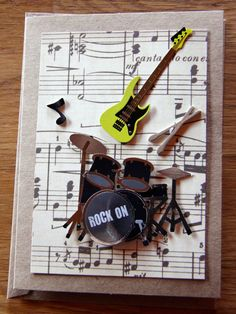 Handmade Cards Birthday Band Card Music Guitar
