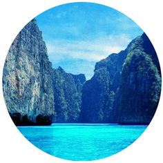 Blue Circle Landscape Print, Minimalist, Modern, Large, Tropical,... (€14) ❤ liked on Polyvore featuring backgrounds, circle, circular and round
