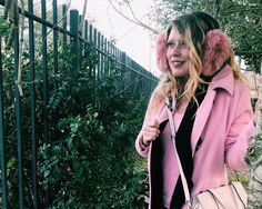 Three Heel Clicks - Fuzzy Pink (Ear Muffs, Kate Spade Purse, Pink Toggle Coat, Old Navy Pink Sweater, Shearling Boots, HUE black cardigan robe)