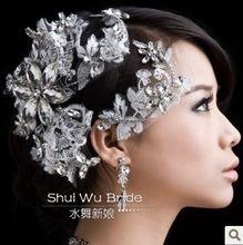 Envío gratis! hechos a mano de lujo encaje Hair Accessories blanco Rhinestone novia Tiara de la corona de la flor del pelo joyería de la boda SHG012(China (Mainland))