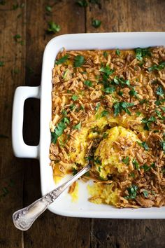 Corn Pudding with Crispy Onions and Herbs - a quick and easy side dish for Thanksgiving that everyone loves! | pinchofyum.com