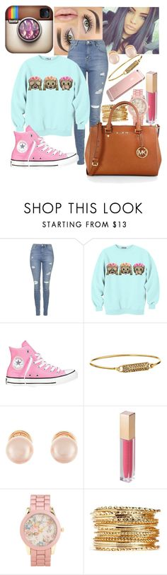 """Cute Schooler"" by mari-unique ❤ liked on Polyvore featuring Topshop, Converse, Rebecca Minkoff, Kenneth Jay Lane, MAKE UP STORE, Aéropostale and MICHAEL Michael Kors"