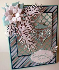 card christmas ornament - pine branch - memory box ornaments -