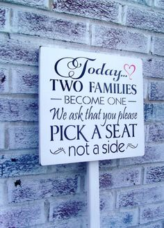 "Wedding seating signs ""Today two families become one"" on stake-outside wedding signs-country beach casual plan"