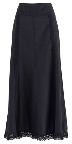 plain black maxi skirt with beautiful lace trim <3