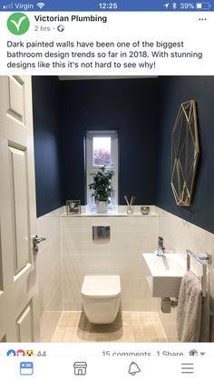 Modern bathroom makeover on the ground floor on a budget - BathroomMake .Modern bathroom makeover on the ground floor on a budget - BathroomMakeover budget Ground floor small with Toilet under stairsToilet under stairsModern bathroom Small Downstairs Toilet, Small Toilet Room, Downstairs Cloakroom, Guest Toilet, Cloakroom Toilet Small, Small Toilet Design, Bathroom Paint Design, Bathroom Interior, Bathroom Designs