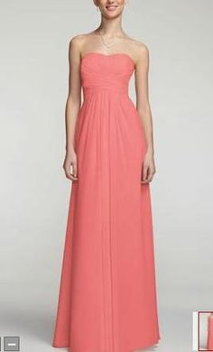 David's Bridal F15555 Long Strapless Chiffon with Pleated Bodice, find it on PreOwnedWeddingDresses.com
