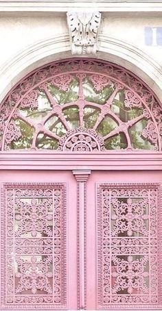 Front Door Paint Colors - Want a quick makeover? Paint your front door a different color. Here a pretty front door color ideas to improve your home's curb appeal and add more style! Cool Doors, Unique Doors, The Doors, Windows And Doors, Pink Love, Pretty In Pink, Yoga Studio Design, Everything Pink, Door Knockers