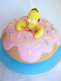 The Simpsons Cake Simpsons Donut, Simpsons Cake, Simpsons Party, The Simpsons, Birthday Cakes For Men, Homer Simpson Donuts, Donut Party, Coconut Macaroons, Fondant Cupcakes