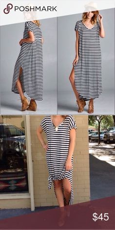 """❣️NEW IN❣️ Oversize Slouch Boho Striped Maxi Dress You will literally hang out in this dress all day and may fall asleep in it too! That's how comfy this is! Stretchy oversized jersey soft material (rayon). Has 2 side slits, perfect to make a tie if too long for you! It's approx 54"""" in length, and looks cute as an ankle length dress as well. PLEASE NOTE: this runs BIG!!!! I highly suggest to size DOWN. I let there be an option for XL AND XXL because the L can and WILL fit those sizes, as…"""