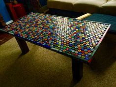Custom Beer Cap Hockey Stick Coffee Table by CollegeTreehouse