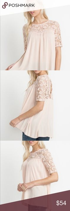 Blush Floral Lace Paneled Top🎉Sale Elegant blush floral lace paneled baby doll top!! Pair with jeans or shorts! Dress up with pants!! Beautiful true to Size fit!! Rayon 100% Garment Care: Hand Wash Sizes Small Medium Large HipFinds Tops Blouses