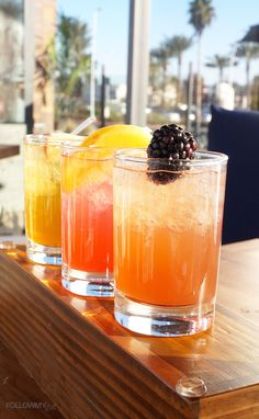 The beautiful Moonshine Trio from Brio Coastal Bar and Kitchen has a great fruit infused flavors. To see which kind I got, go to FollowMyGut.com #food #cocktails #moonshine #briocoastal #briocoastalbarandkitchen #drinks #liquor #la #losangeles #torrance #california