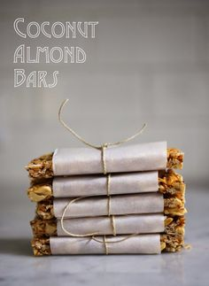 "A simple tasty recipe for Coconut Almond Bars, similar to ""Kind Bars"". Gluten Free, sugar free, sweetened with honey. Paleo Granola Bars, Homemade Muesli Bars, Homemade Kind Bars, Homemade Food, Tupperware, Almond Bars, Coconut Bars, Coconut Recipes, Healthy Treats"